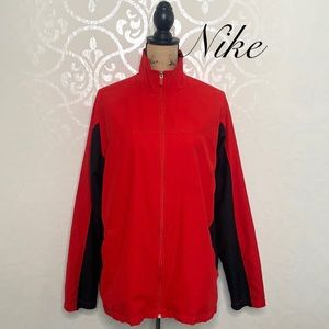 NIKE JACKET RED AND BLACK FULL FRONT ZIP MOCK NECK WITH POCKETS SIZE XL 16-18